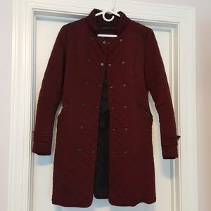 Wine Double Breasted Coat